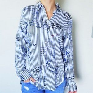 Chico's Blue/White Graphic Print Button Up Shirt 0